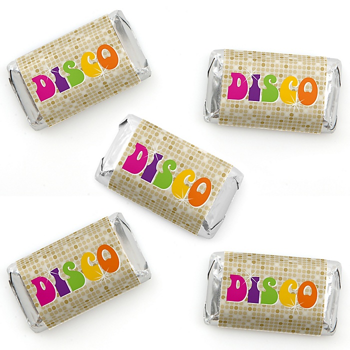 70's Disco - Mini Candy Bar Wrapper Stickers - 1970s Disco Fever Party Small Favors - 40 Count