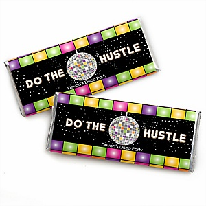 70's Disco - Personalized Candy Bar Wrapper 1970s Party Favors - Set of 24