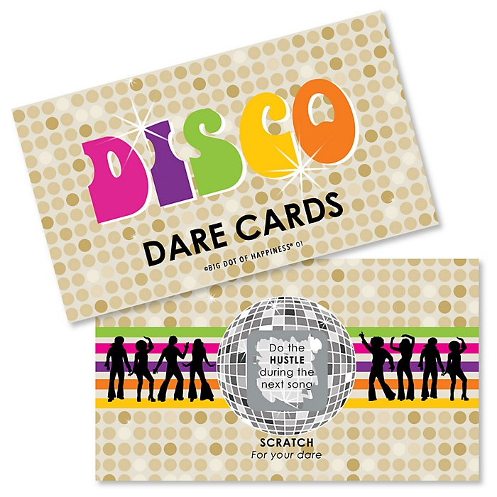70's Disco - 1970s Party Scratch Off Dare Cards - 22 Cards