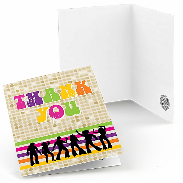 70's Disco - Set of 8 1970s Party Thank You Cards