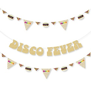 70's Disco - 1970s Disco Fever Party Letter Banner Decoration - 36 Banner Cutouts and No-Mess Real Gold Glitter Disco Fever Banner Letters