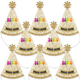 70's Disco - Mini Cone 1970s Disco Fever Party Hats - Small Little Party Hats - Set of 8