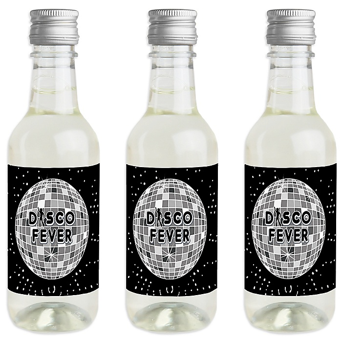 '70's Disco - Mini Wine and Champagne Bottle Label Stickers - 1970s Disco Fever Party Favor Gift for Women and Men - Set of 16