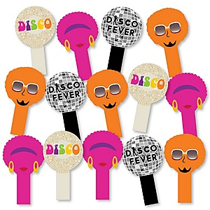 70's Disco - 1970s Party Paddle Photo Booth Props – Selfie Photo Booth Props – Set of 14