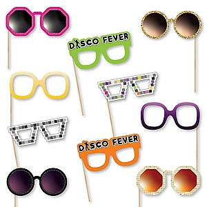 70's Disco Glasses - Paper Card Stock 1970s Disco Fever Party Photo Booth Props Kit - 10 Count