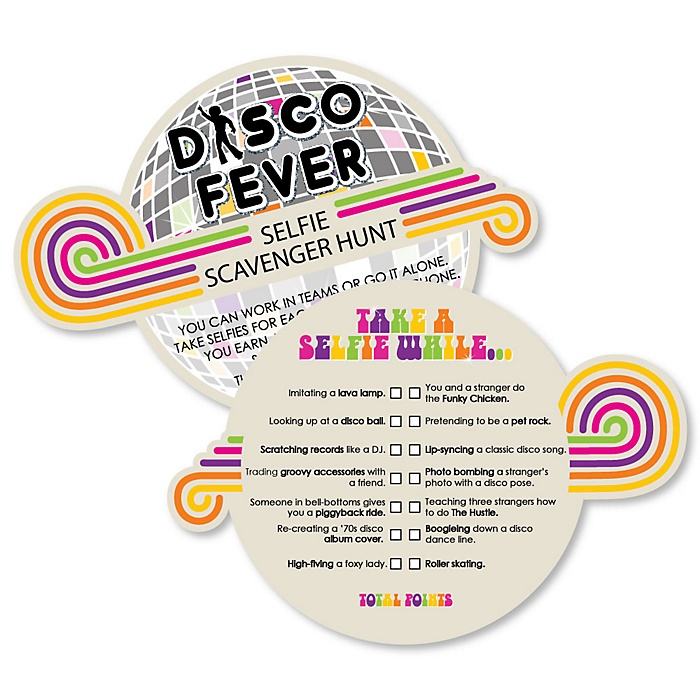 70's Disco - Selfie Scavenger Hunt - 1970s Disco Fever Party Game - Set of 12