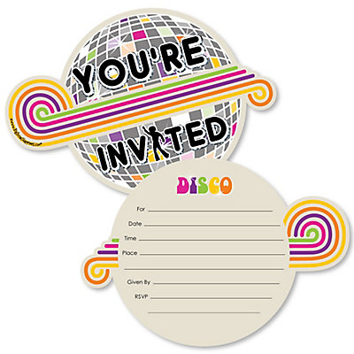 70 s disco shaped fill in invitations 1970s disco fever party
