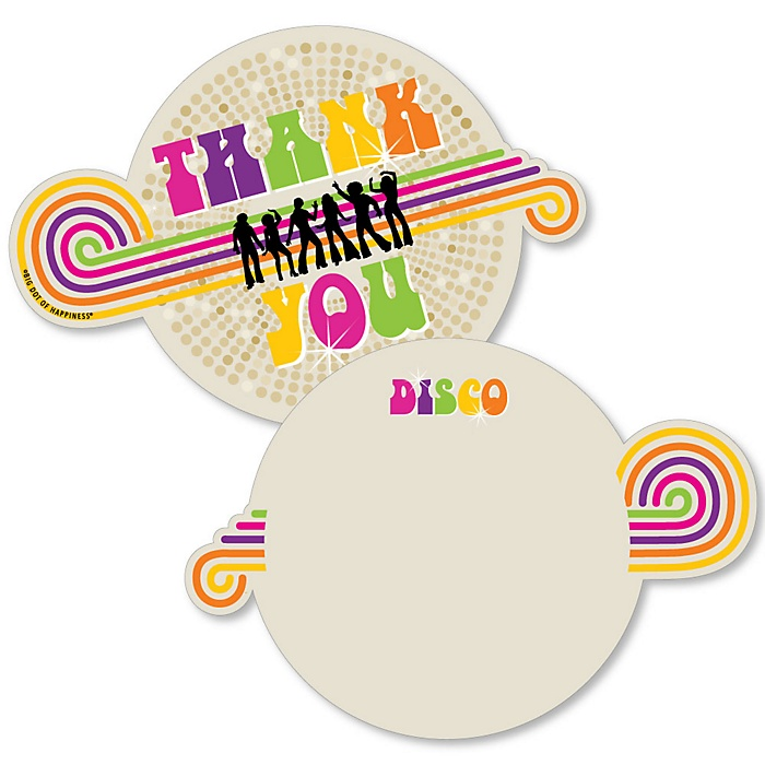 70's Disco - Shaped Thank You Cards - 1970s Disco Fever Party Thank You Note Cards with Envelopes - Set of 12