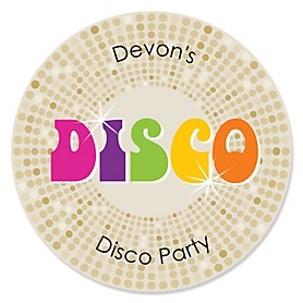 70's Disco - Round Personalized 1970s Party Sticker Labels - 24 ct