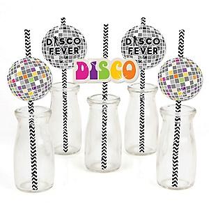 70's Disco - Paper Straw Decor - 1970s Party Striped Decorative Straws - Set of 24