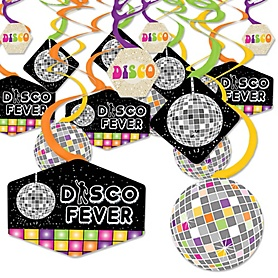 70's Disco - 1970s Disco Fever Party Hanging Decor - Party Decoration Swirls - Set of 40