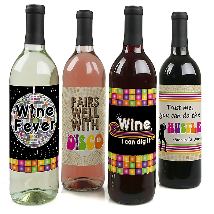 70's Disco - 1970s Party Decorations for Women and Men - Wine Bottle Label Stickers - Set of 4