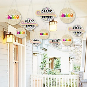 Hanging 70's Disco - Outdoor 1970s Disco Fever Party Hanging Porch and Tree Yard Decorations - 10 Pieces