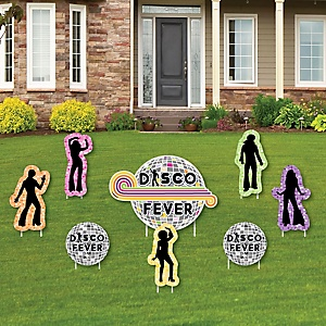 70's Disco - Yard Sign & Outdoor Lawn Decorations - 1970s Party Yard Signs - Set of 8
