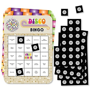 70's Disco - Bar Bingo Cards and Markers - 1970s Disco Fever Party Bingo Game - Set of 18