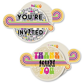 70's Disco - 20 Shaped Fill-In Invitations and 20 Shaped Thank You Cards Kit - 1970s Disco Fever Party Stationery Kit - 40 Pack