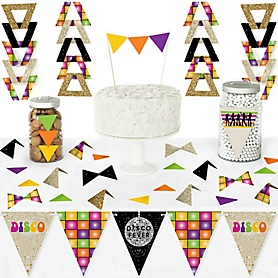 70's Disco - DIY Pennant Banner Decorations - 1970s Disco Fever Party Triangle Kit - 99 Pieces