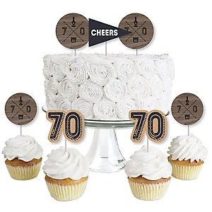 70th Milestone Birthday - Dashingly Aged to Perfection - Dessert Cupcake Toppers - Birthday Party Clear Treat Picks - Set of 24