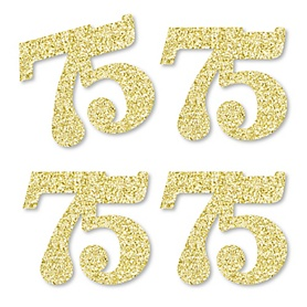 Gold Glitter 75 - No-Mess Real Gold Glitter Cut-Out Numbers - 75th Birthday Party Confetti - Set of 24