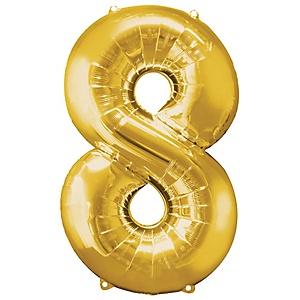 """Gold - """"8"""" Shaped - Mylar Balloon - 34"""""""