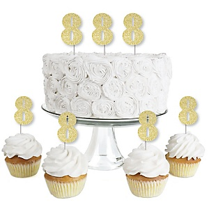 Gold Glitter 8 - No-Mess Real Gold Glitter Dessert Cupcake Toppers - 8th Birthday Party Clear Treat Picks - Set of 24