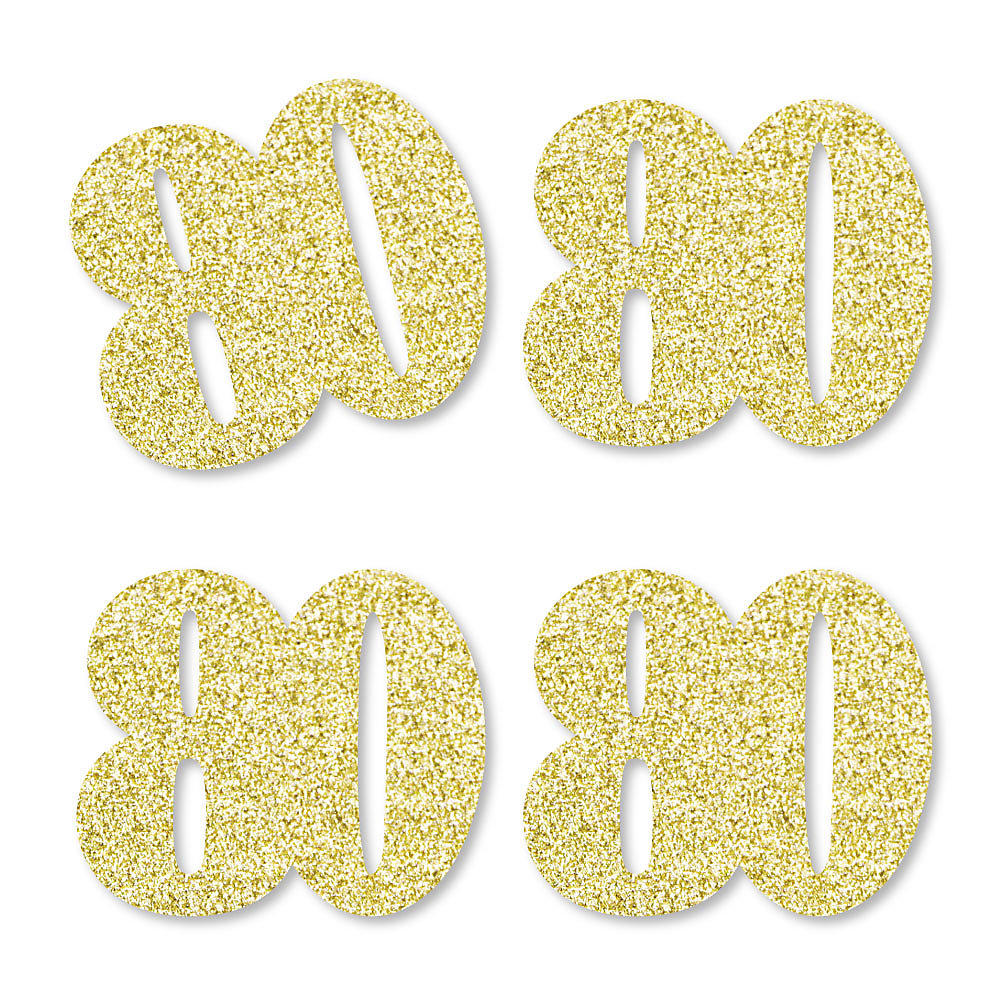 Gold Glitter 80 No Mess Real Gold Glitter Cut Out Numbers 80th