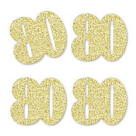 Gold Glitter 80 - No-Mess Real Gold Glitter Cut-Out Numbers - 80th Birthday Party Confetti - Set of 24