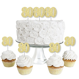 Gold Glitter 80 - No-Mess Real Gold Glitter Dessert Cupcake Toppers - 80th Birthday Party Clear Treat Picks - Set of 24