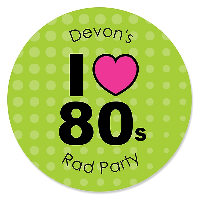 80's Retro - Round Personalized Totally 1980s Party Sticker Labels - 24 ct