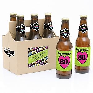 80's Retro - 1980s- 6 Beer Bottle Label Stickers and 1 Carrier