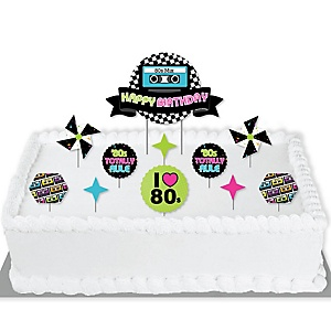 80's Retro - Totally 1980s Birthday Party Cake Decorating Kit - Happy Birthday Cake Topper Set - 11 Pieces