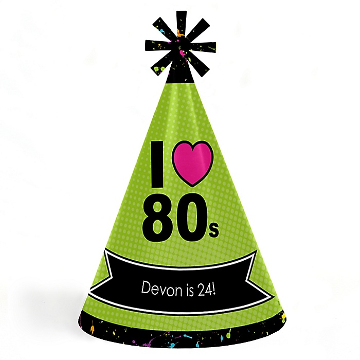 80's Retro - Personalized 1980s Cone Birthday Party Hats for Kids and Adults - Set of 8 (Standard Size)