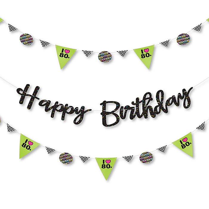 80's Retro - Totally 1980s Birthday Party Letter Banner Decoration - 36 Banner Cutouts and Happy Birthday Banner Letters