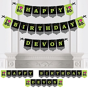 80's Retro - Personalized 1980s Birthday Party Bunting Banner & Decorations