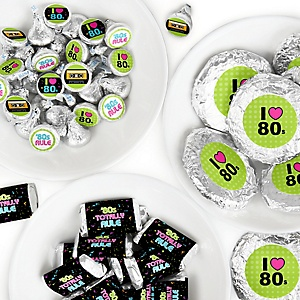 80's Retro - Mini Candy Bar Wrappers, Round Candy Stickers and Circle Stickers - Totally 1980s Party Candy Favor Sticker Kit - 304 Pieces