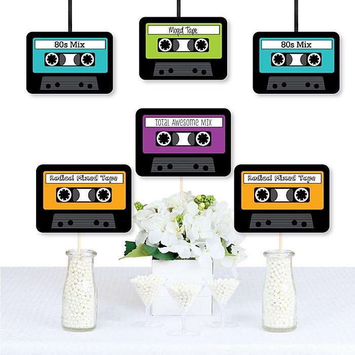 80's Retro - 1980s Decorations DIY Paper Cassette Tape Party Essentials - Set of 20