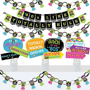 80's Retro - Banner and Photo Booth Decorations - Totally 1980s Party Supplies Kit - Doterrific Bundle
