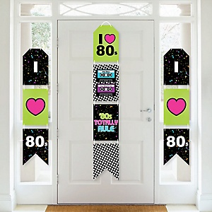 80's Retro - Hanging Vertical Paper Door Banners - Totally 1980s Party Wall Decoration Kit - Indoor Door Decor