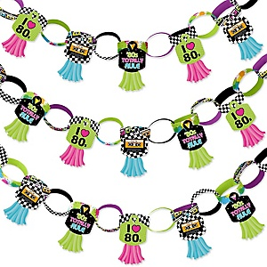 80's Retro - 90 Chain Links and 30 Paper Tassels Decoration Kit - Totally 1980s Party Paper Chains Garland - 21 feet