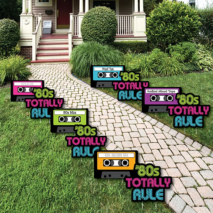 80's Retro - 1980s Lawn Decorations - Outdoor Yard Art Decorations - 10 Piece