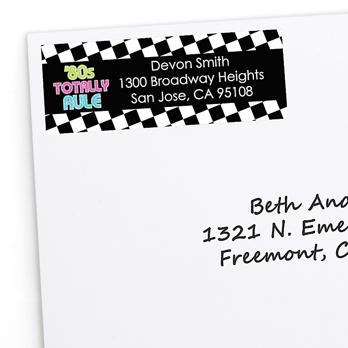 80's Retro - Personalized Totally 1980s Party Return Address Labels - 30 ct
