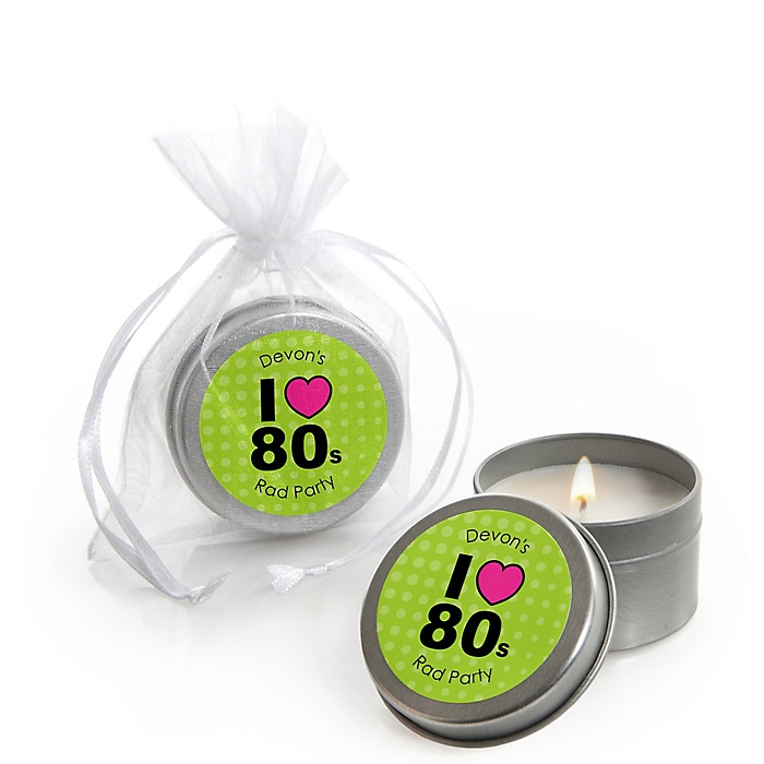 80's Retro - Personalized Totally 1980s Party Candle Tin Favors - Set of 12