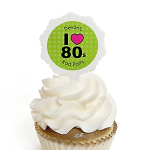 80's Retro - 12 Cupcake Picks & 24 Personalized Stickers - Totally 1980s Party Cupcake Toppers