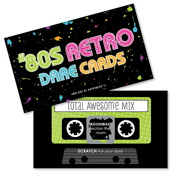 80's Retro - Totally 1980s Party Scratch Off Dare Cards - 22 Cards