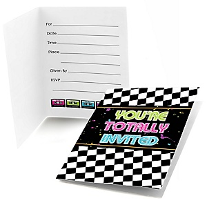80's Retro - Set of 8 Fill In Totally 1980s Party Invitations