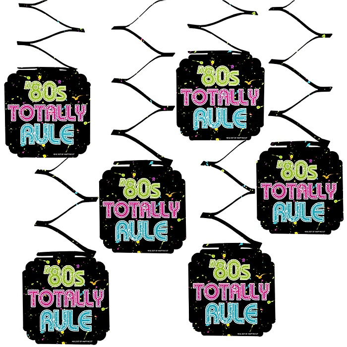 80's Retro - Totally 1980s Party Hanging Decorations - 6 Count