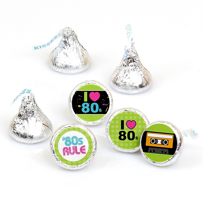 80's Retro - Round Candy Labels Totally 1980s Party Favors - Fits Hershey's Kisses - 108 ct