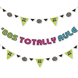 80's Retro - Totally 1980s Party Letter Banner Decoration - 36 Banner Cutouts and '80s Totally Rule Banner Letters
