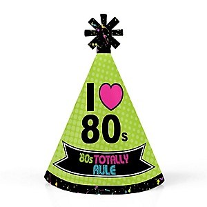 80's Retro - Personalized Mini Cone Totally 1980s Party Hats - Small Little Party Hats - Set of 10