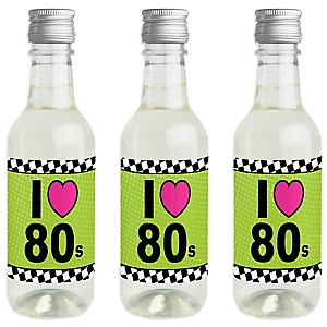 80's Retro - Mini Wine and Champagne Bottle Label Stickers - Totally 1980s Party Favor Gift for Women and Men - Set of 16